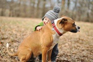 baby hugging dog tongue flick